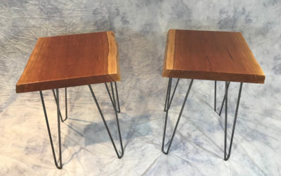 Live-edge cherry end tables for St. Mary's Visitation Auction